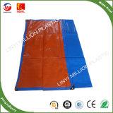 Lonas de plástico reforçado de venda quente com ilhós laranja azul PE Folha de lona de toldo