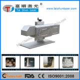 machine de marquage au laser CO2 sur le tissu de bois en cuir