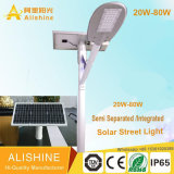 L'indicatore luminoso di via solare separato spaccatura esterna di alto potere 30W 50W 60W 80W LED con Ce RoHS ha approvato