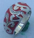 Jeu Polished rouge de bijou d'argent d'émail