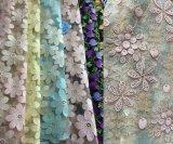 Rolo do laço da tela de Champagne, tela floral do laço do teste padrão da tela de Champagne para a decoração