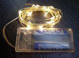 5m het Koord van de 50 LEIDENE Draad van het Koper steken Warme Witte LEIDENE die Koorden voor de Partij van het Huwelijk van Kerstmis door de Batterij van aa worden aangedreven aan
