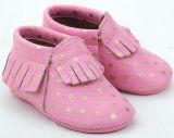 Novo design elegante em pele do bebé Moccasins exclusivo soft