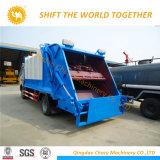 7 Tipo de carga trasera cúbicos camión compactador de basura