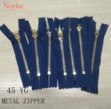 Chiusura lampo d'ottone 45 Yg del metallo degli accessori per il vestiario per gli abiti del denim