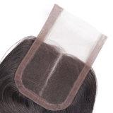 I capelli peruviani dei capelli della parte di colore dell'onda naturale centrale del corpo con la chiusura del merletto in pieno cucono dentro con la chiusura del merletto