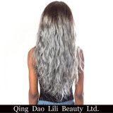 """O Weave brasileiro do cabelo de Ombre da onda do corpo da beleza de Lili empacota o cinza 8 de 100% T1b """" - 30 """" não pacotes do cabelo humano de Remy"""