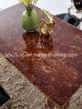 Таблица роскошной золотистой нержавеющей стали мраморный обедая/мебель столовой