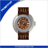 Швейцарский wristwatch диаманта Movt Bling с кожаный полосой