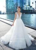 Tiras de tecido Aolanes e verificar uma linha vestido de casamento
