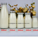 200ml/250ml/500ml de leite Vidro Vazio Garrafa com tampa de plástico