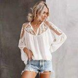 2020 новый дизайн кружева смешанных дамы досуг плюс размер блуза
