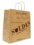 卸し売り習慣は印刷された平らなハンドルのブラウンクラフト紙袋をリサイクルする