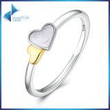 100% 진짜 925명의 순은 빛난 심혼 특징 반지 여자 순은 보석 반지