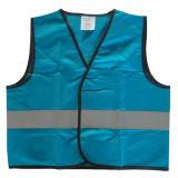 Veste azul da segurança das crianças da tira do sinal da cor