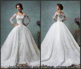 weg Schulter-von den Brautballkleidern 3/4 Hülsen-geschwollenes Spitze-Hochzeits-Kleid As20179