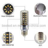 La luz E27 10W del maíz del LED calienta la lámpara de plata blanca del bulbo de la carrocería LED del color