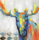 Pintura al óleo pintada a mano animal linda del color moderno para el arte de la pared
