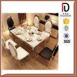 Tabela de jantar superior de jantar moderna do aço inoxidável do mármore da mobília da sala de visitas