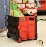 Der beste einfache Preis öffnen sich und faltet Plastis Einkaufen-Laufkatze-Karre mit vier Rädern