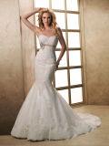 Vestido de casamento novo da sereia do vestido nupcial do laço do projeto
