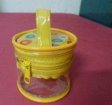 Bolso promocional al por mayor de la cremallera de la maneta de la dimensión de una variable del cilindro del PVC del claro de China