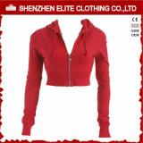 Оптовая торговля высокое качество пользовательских красный Hoodies культуры женщин Zipper (ELTCHI-7)