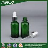 botella de petróleo esencial vacía de la botella de cristal del cuentagotas del color verde de 5ml 10ml 15ml 30ml 50ml 100ml