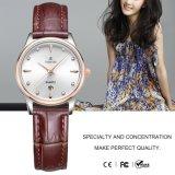 Marca de lujo de la mujer Reloj de cristal señoras reloj de pulsera de cuero de moda71158