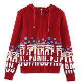Femmes rouges Hoodie de longue de la chemise 100 impression desserrée de coton