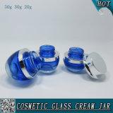 vasi crema di vetro cosmetici colorati blu di 50g 30g 20g con la protezione d'argento