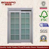 木のドア(GSP3-030)を滑らせるヨーロッパの白いペンキガラス