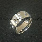 Anillo &#160 de la joyería de la manera; las piedras 9PCS embutieron el anillo del acero inoxidable (CZR2586)
