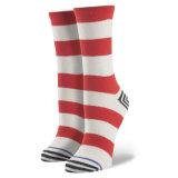 Strickende Socke in einer Streifen-Frauen-Form-Art-frei Kollokation