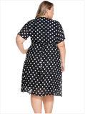 Sommer beiläufiger V-Stutzen Riemen-weiße Polka-Punkt-Damen plus Größen-Chiffon- Kleid