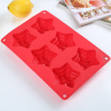 Silicone Bakeware 6cav. Muffa della torta del silicone a forma di stella del commestibile dello strato della torta mini