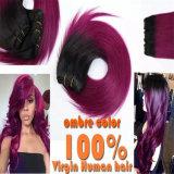 Ombre deux tons de couleur des cheveux vierge 100 % l'extension
