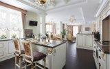 2016 Mobiliário de cozinha tradicional Custom Made Feito Gabinete de cozinha de madeira maciça com acabamento de ouro Fabricante OEM profissional S1606047