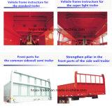 Acoplado modificado para requisitos particulares superventas de Utiltiy del cargo a granel de 2 árboles con la pared lateral/la cerca y Colum