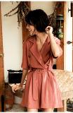 Sommer kleidet Frauen-runde Stutzen-Kurzschluss-Hülsen-Streifen-Strickjacke