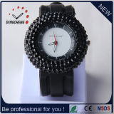 Het kleurrijke Silicone Genève van de Charme Dame Quartz Watch Factory Diamond In het groot Horloges (gelijkstroom-802)
