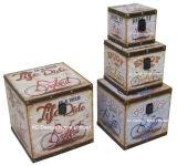 S/4 de Decoratieve Antieke Uitstekende Oude Doos van de Boomstam van de Opslag van de Druk Pu Leather/MDF van de Auto Vierkante Houten