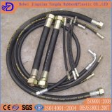 Boyau en caoutchouc hydraulique tressé de fil d'acier de SAE100 R1at R2at