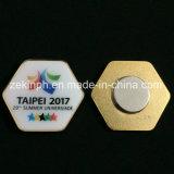 Distintivo su ordinazione di stampa con del magnete la parte posteriore sopra