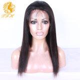 Sedoso pelucas del pelo humano brasileño de la Virgen del pelo peluca llena del cordón y peluca delantera del cordón de pelucas de pelo humano Negro Mujeres de encaje completa