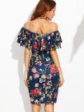 GroßhandelsFlounce überlagerte Ausschnitt-Blumen-Drucken reizvolle Bodycon Kleider
