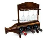 Accessori di legno del vino della mobilia della casa del basamento della cremagliera di figura della bottiglia di vino