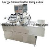 Línea tipo de trabajo máquina automática del lacre de la bandeja/máquina continua del lacre