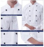 Long uniforme bon marché blanc fait sur commande de chef de sein de nouveau modèle de forme physique de coton de douille double