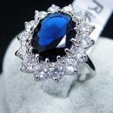 최상 형식 여자 호화스러운 Elegent 파란 수정같은 결혼 반지